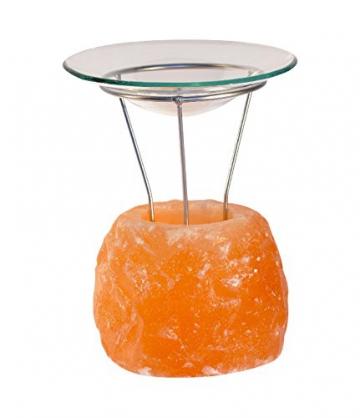 Naturbelassene Salzkristall-Duftlampe mit Glasschale