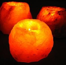 Salzkristallleuchte für Teelichter naturbelassen