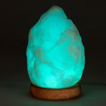 Salzkristall-Leuchte mit LED und Farbwechsel-Modus türkis