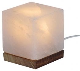 Salzkristalllampe in Würfelform weiß